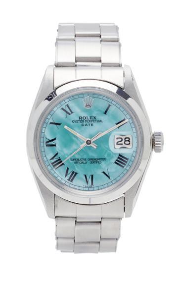 Vintage Watches Rolex Date Pale Aqua Green Pearlized Roman Dial