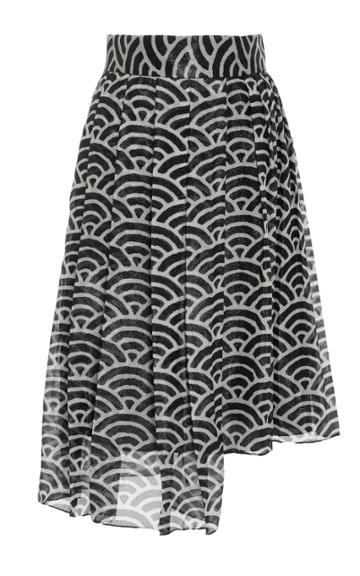 Whit Asymmetrical Fan Skirt