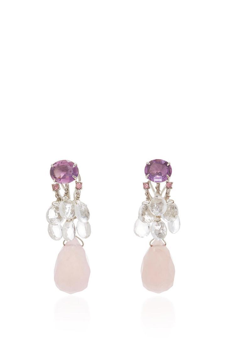 Bounkit Amethyst, Clear Quartz, And Rose Quartz Interchangeable Earrings