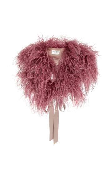 Demarson Zoe Silk-trimmed Feather Shawl