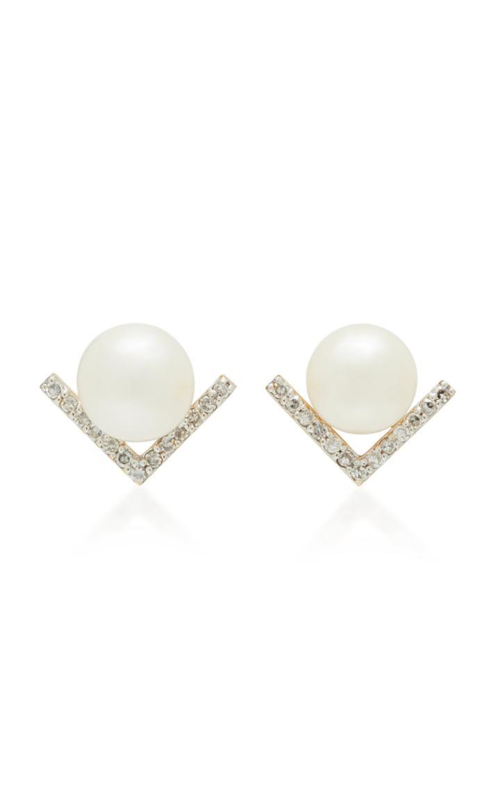 Mateo 14k White Gold Pearl Stud Earrings