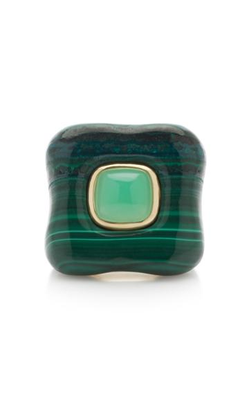 Rush Jewelry Design 18k Yellow Gold And Malachite Draper Ring