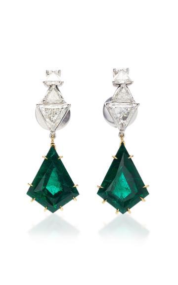 Ara Vartanian 18k Gold Emerald And Diamond Hook Earrings
