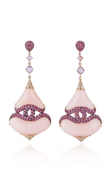 Wendy Yue 18k Rose Gold Pink Opal Drop Earrings