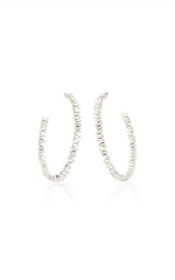 Moda Operandi Suzanne Kalan 18k White Gold Fireworks Signature Hoop Earring