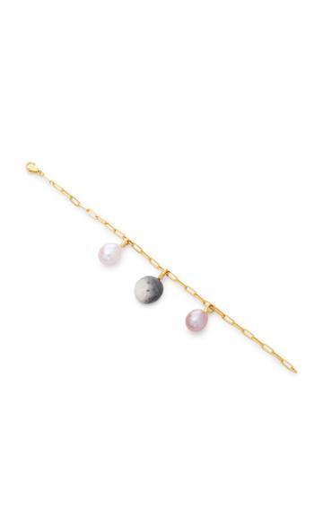 Cvc Stones Ombre And Pearl 18k Gold Multi-stone Charm Bracelet