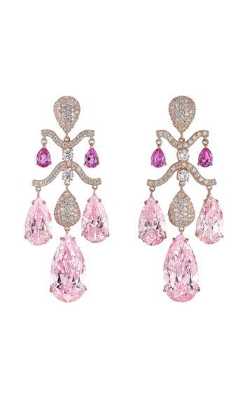Moda Operandi Anabela Chan 18k Rose Gold Pink Sapphire Chandelier Earrings