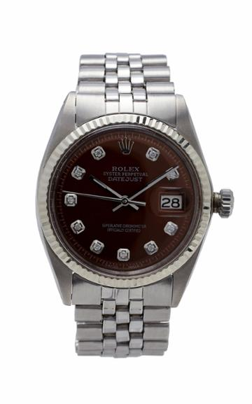 Vintage Watches Rolex Datejust Rootbeer Pearlized Diamond Dial