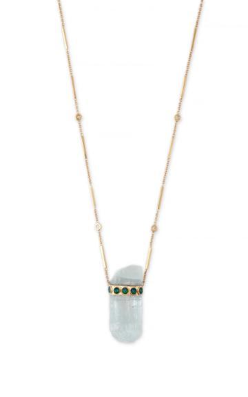 Moda Operandi Jacquie Aiche 14k Yellow Gold Aquamarine Crystal Smooth Bar Necklace