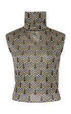 Paco Rabanne Sleeveless Printed Turtleneck Tank Top