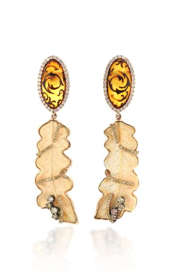 Wendy Yue 18k Rose Gold Amber And Agate Earrings