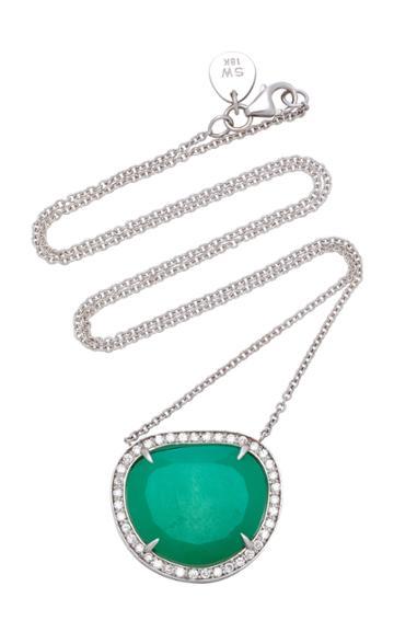 Sara Weinstock 18k White Gold Chrysoprase And Diamond Necklace