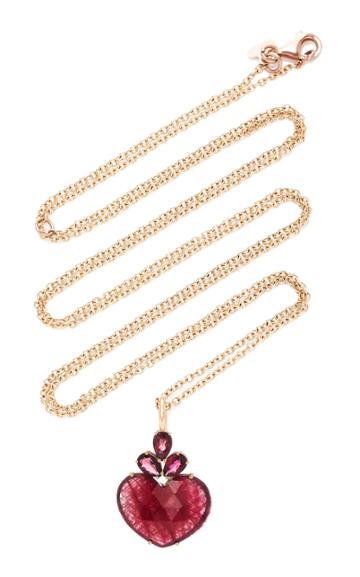 Christina Alexiou Red Tourmaline Heart Pendant Necklace