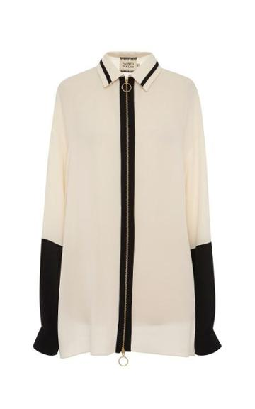 Fausto Puglisi White And Black Long Sleeve Blouse White/black