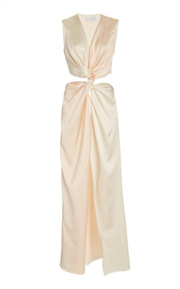 Moda Operandi Marina Moscone Gathered Satin Midi Dress