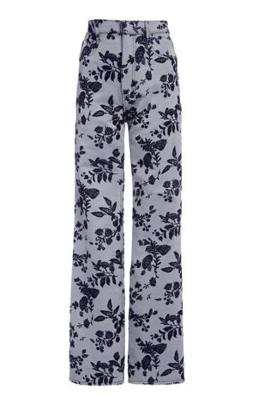 Moda Operandi Rodarte Floral Crepe Straight-leg Trousers