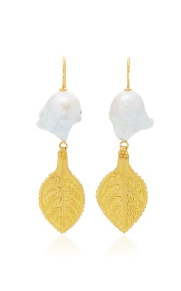 Ranjana Khan Gold Leaf 3 Pearl Earrings