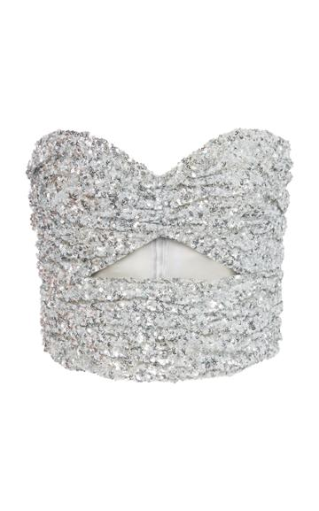 Attico Strapless Drape Sequins Top