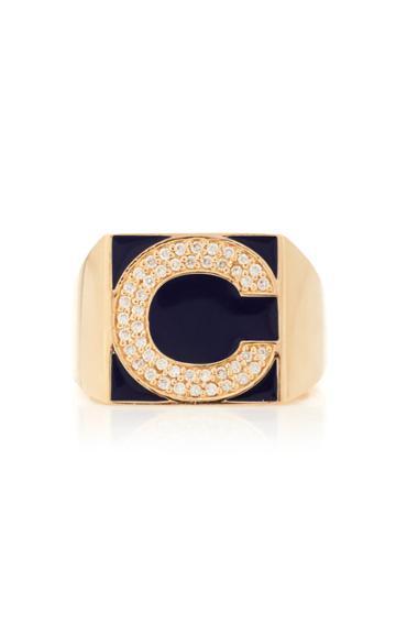 Moda Operandi Alison Lou Superlou Navy Enamel And Diamond Letter Ring