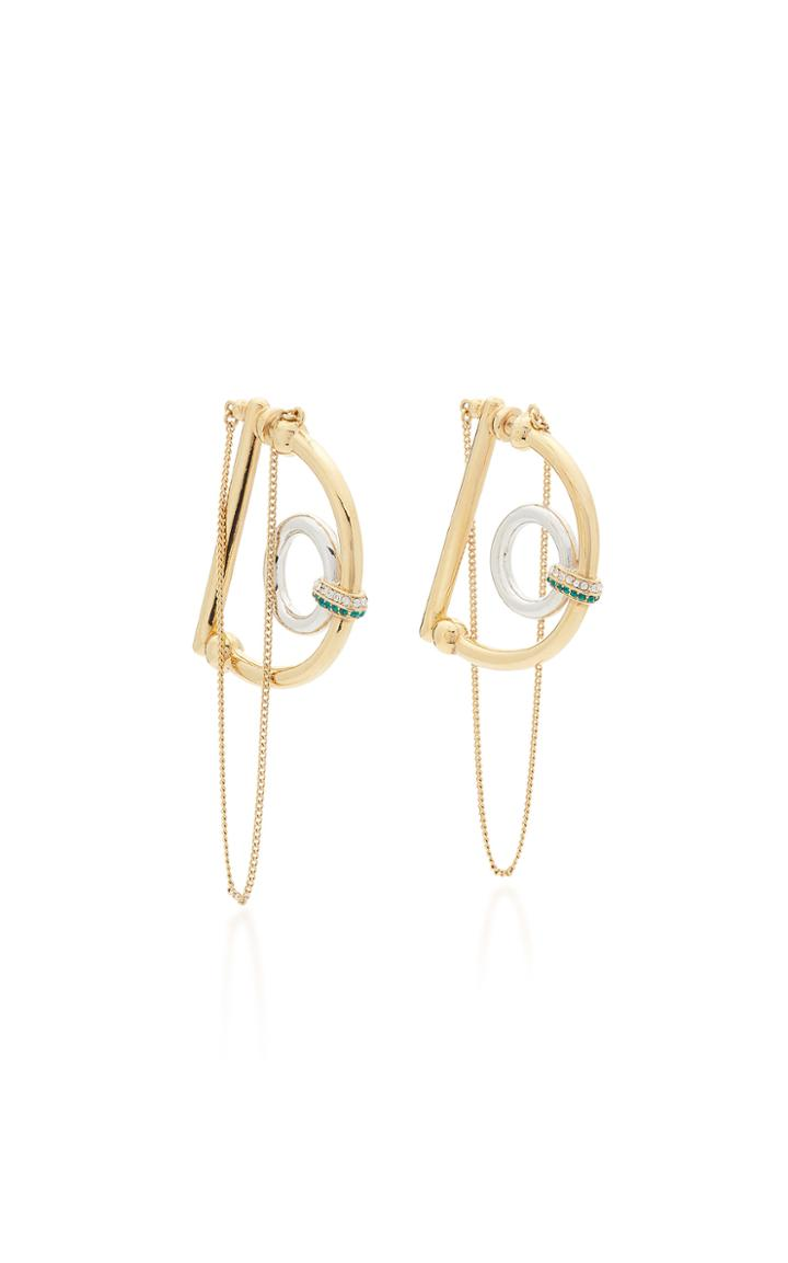 Demarson Dema 12k Gold-plated Crystal Hoop Earrings