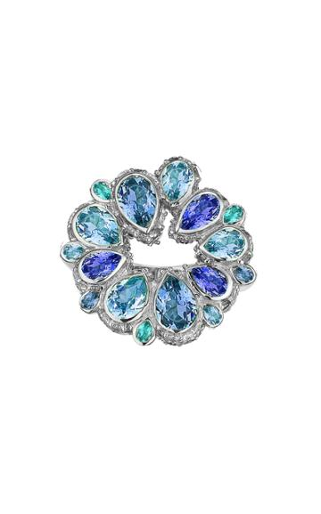 Moda Operandi Anabela Chan 18k White Gold Aqua Pave Panettone Ring