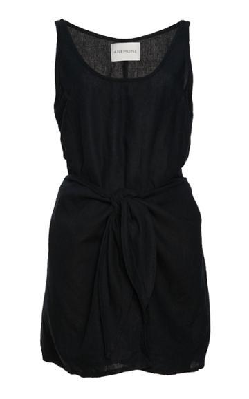Anemone Sleeveless Linen Blend Wrap Dress