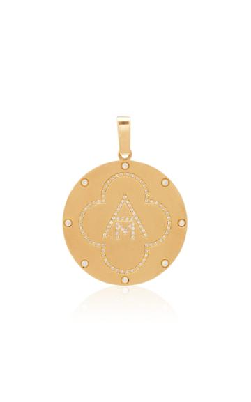 Ashley Mccormick Monogram 18k Gold And Diamond Necklace