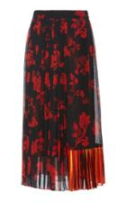 Tory Burch Floral-print Pleated Chiffon Skirt