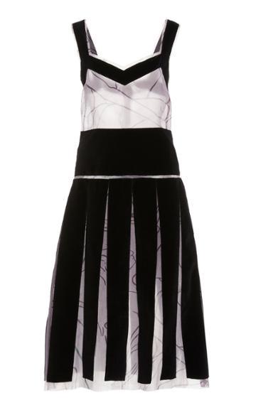 Moda Operandi Marina Moscone Paneled Silk-blend Shift Dress