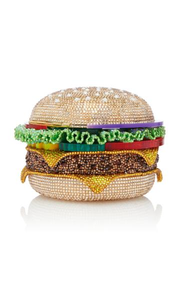 Judith Leiber Couture Crystal-embellished Hamburger Clutch