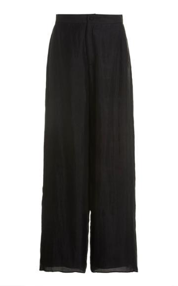 Moda Operandi Mimi Prober Byron Embroidered Organic Silk Wide-leg Trousers
