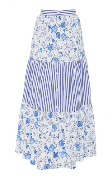 Mds Stripes Tiered Button Front Skirt