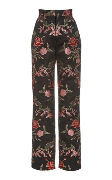 Moda Operandi Rodarte Metallic Floral Jacquard Straight-leg Trousers