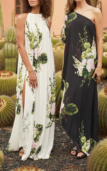 Moda Operandi Monique Lhuillier Asymmetric Printed Crepe Caftan Dress