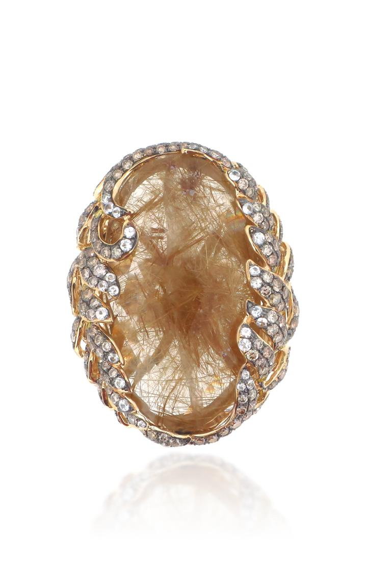 Wendy Yue 18k Yellow Gold Sapphire And Diamond Ring