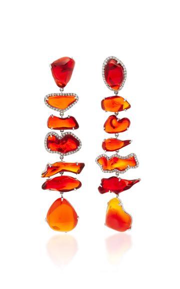 Nina Runsdorf M'o Exclusive One-of-a-kind Fire Opal Long Earrings
