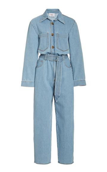 Nanushka Lennon Belted Denim Jumpsuit