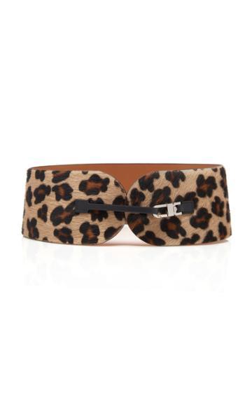 Maison Vaincourt M'o Exclusive Leopard Print Calf-hair Belt