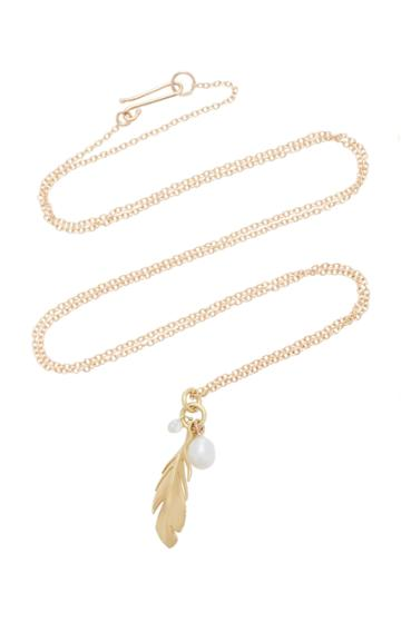 Annette Ferdinandsen Feather 18k Gold And Diamond Pendant Necklace