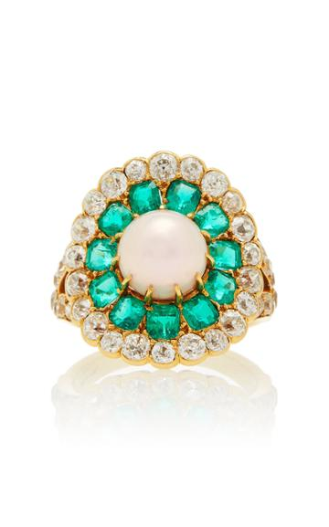 Vintage Marcus & Co Antique Natural Pearl Emerald And Diamond Ring