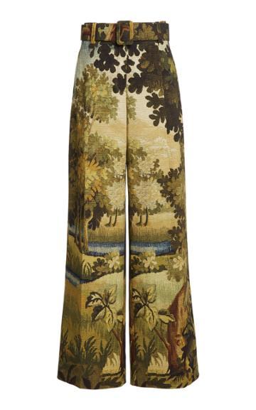 Oscar De La Renta Printed Wide-leg Hunter Pants