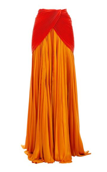 Moda Operandi Balmain Draped Pleated Silk Maxi Skirt Size: 34