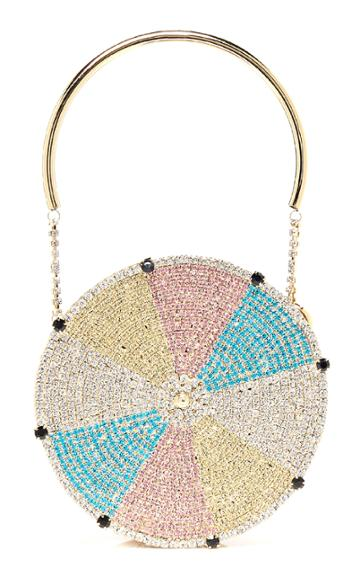 Rosantica Roue Crystal-embellished Gold-tone Top Handle Bag