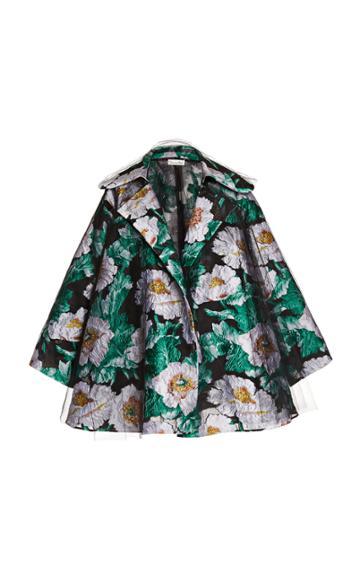 Oscar De La Renta Floral Jacquard Short Coat