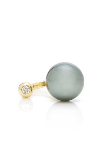 Mizuki 14k Open Black Large Tahitian Pearl And Diamond Ring