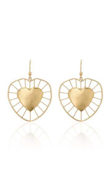 Christina Alexiou Large Radial Heart Wire Drop Earrings