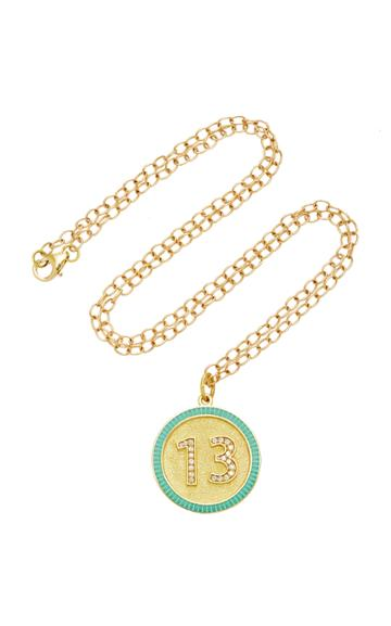 Moda Operandi Andrea Fohrman Custom Diamond Number Enamel Necklace