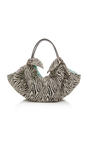 Nanushka Mini Inda Zebra Print Knit Bag