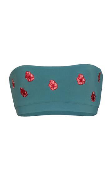 Anemone Floral Embroidered Bandeau Bikini Top