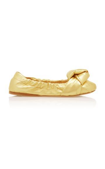 Moda Operandi Miu Miu Metallic Knotted Flats Size: 35.5